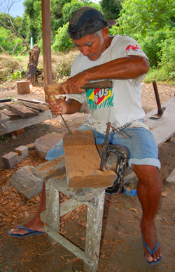 Caboclo at Prainha making furniture at Oficinas Caboclos project on Tapajos River, Brazil - Photo by Campbell Plowden/CACE