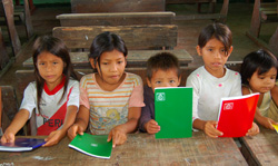 Peru school children with notebooks bought from CACE handicraft social rebate - Photo by Campbell Plowden/CACE