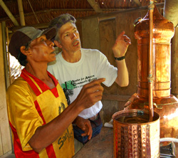 Campbell Plowden and Bora leader distilling copal resin - Photo by Natalya Stanko/CACE