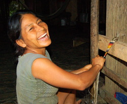 "Felicita Butuna making ""naca naca"" model belt - Photo by Campbell Plowden/CACE"