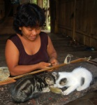 Bora artisan Ines Chichaco making chambira belt at Brillo Nuevo - Photo by Campbell Plowden/CACE