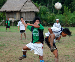 Playing soccer match with Bora natives in the Ampiyacu River area - Photo by Campbell Plowden/CACE