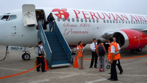 Peruvian Airlines plane at Iquitos airport