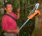 Bora man Aurelio with trimmer head for collecting copal leaves. Photo by Campbell Plowden/Center for Amazon Community Ecology