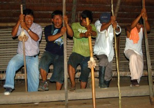 Bora men doing traditional chant at Puca Urquillo. Photo by Campbell Plowden/Center for Amazon Community Ecology