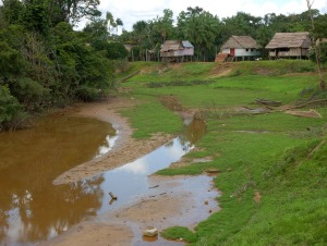 Bora village of Brillo Nuevo at low water. Photo by Campbell Plowden/CACE