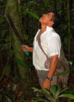 Bora man Carlos counting resin lumps in copal tree. Photo by Campbell Plowden/Center for Amazon Community Ecology