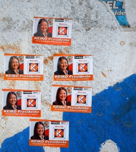 Keiko Fujimori for President stickers. Photo by Campbell Plowden/CACE