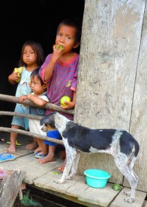 Children and dog in Yagua village of San Jose de Piri.  Photo by Campbell Plowden/CACE