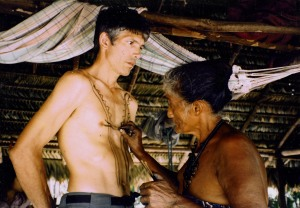 Tembé headwoman Veronica painting Campbell with genipapo (huito) dye in 1997. Photo by Bruce Hoeft