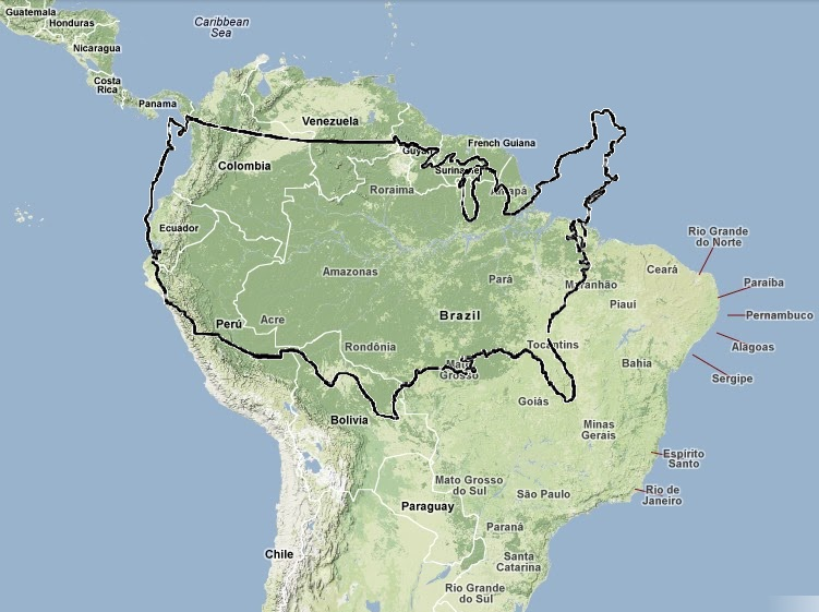 area of the amazon basin shaded green in relation to the contiguous united states black outline at roughly the same scale