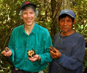 Campbell Plowden and Eli Soria with aguajal copal at Brillo Nuevo
