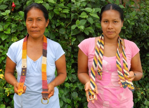 Bora artisans Gisela and Angelina with chambira fiber belts