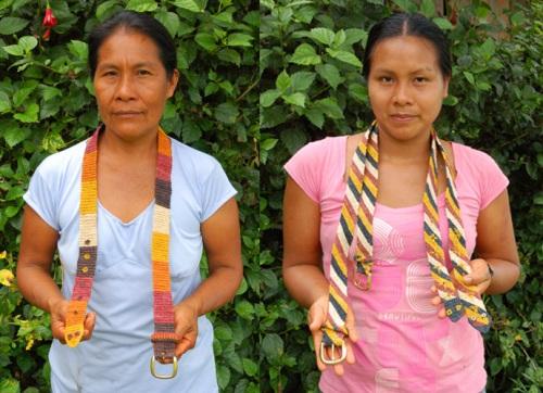 Bora artisans Gisela and Angelina with chambira fiber belts