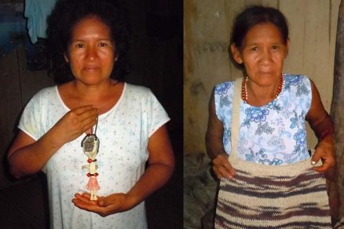 Yagua artisans Mariela and Guillermina with crafts at San Jose de Piri.  Photos by Campbell Plowden/CACE
