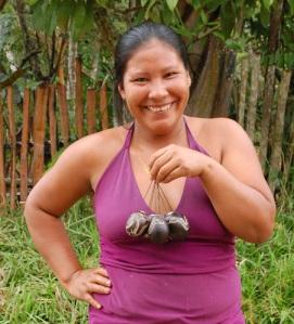 Huitoto artisan Rebeca Rubio with tutuma ornament