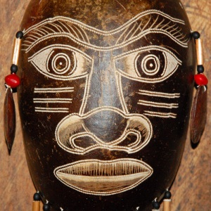 Ceremonial mask made of wingo fruit pod by Bora artisan at Puca Urquillo.  Photo by Campbell Plowden/CACE