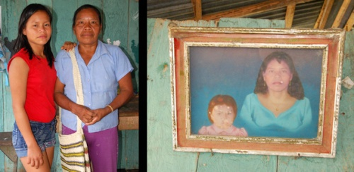 Alejandrina and daughter - today and younger portrait. Photos by C. Plowden/CACE