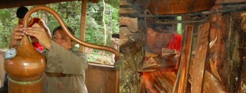 Alembique pot caulking and fire montage