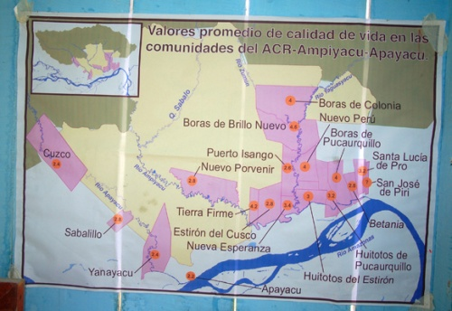 Map of native communities near the Ampiyacu-Apayacu Regional Conservation Area. Photo by C. Plowden/CACE