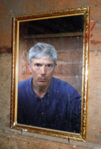 Campbell in bathroom mirror at Pebas.  Photo by C. Plowden/CACE