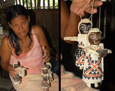 Huitoto artisan Carline with llanchama dolls. Photos by C. Plowden/CACE