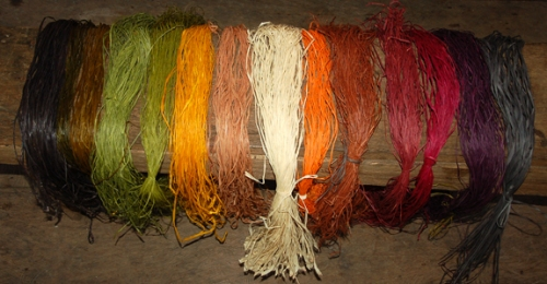 Rainbow of dyed chambira fibers. Photo by C. Plowden/CACE