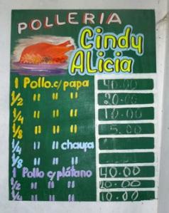 Cindy Alicia menu