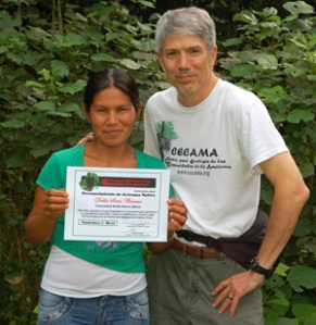 Campbell Plowden with Bora artisan Dalila Soria with artisan certificate