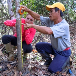 Ezekiel and Lilly measuring flood height in purma. Photo by C. Plowden/CACE