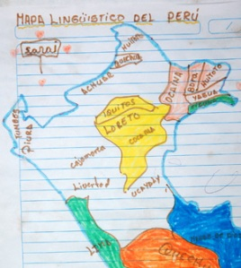 Kid's linguistic map of norhern Peru at Nueva Esperanza. Photo by C. Plowden/CACE