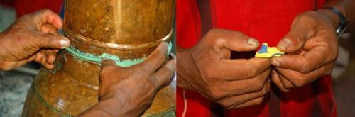 Putting Moldi-Mix caulking on alembique pot. Photos by C. Plowden/CACE