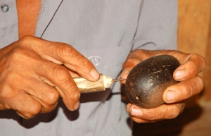 Native artisan carving a tutuma ornament. Photo by C. Plowden/CACE