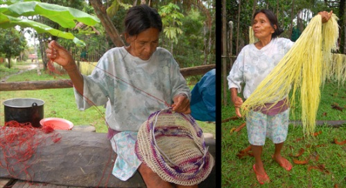 Rosa hanging and weaving chambira palm fibers. Photos cy C. Plowden/CACE