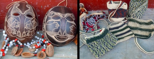 Wingo masks and chambira bags at Santa Lucia de Pro. Photos by C. Plowden/CACE