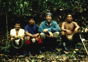 Campbell Plowden with Tembé men in the forest. © Photo by Campbell Plowden/Center for Amazon Community Ecology