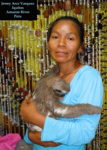 Jenny Arce Vasquez, Iquitos artisan with pet sloth. Photo by C. Plowden/CACE