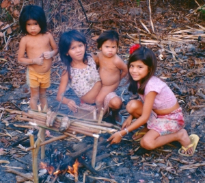 Marissa Plowden with Emidio Tembé kids cooking fish. © Photo by Campbell Plowden/Center for Amazon Community Ecology