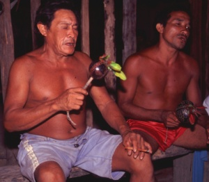 Moreira Tembé chanting at traditional festival. © Photo by Campbell Center for Amazon Community Ecology