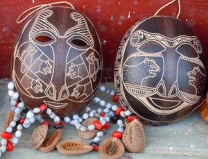 Traditional masks made from calabash fruit pods.  Photo by Campbell Plowden/Center for Amazon Community Ecology