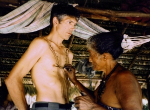 Veronica Tembé painting Campbell Plowden at traditional festival. © Photo by Bruce Hoeft/Center for Amazon Community Ecology