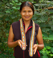 Bora native artisan with Amazon guitar strap. © Photo by Campbell Plowden/Center for Amazon Community Ecology