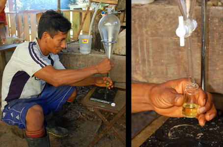 Bora man separating rosewood oil from distillate water. © Photos by Campbell Plowden/Center for Amazon Community Ecology