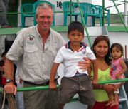 Devon Graham on Project Amazonas boat. © Photo by Project Amazonas