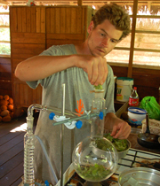 Robin van Loon distilling camphor moena leaves. © Photo by Campbell Plowden/Center for Amazon Community Ecology