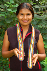Bora artisan with cascabel style Amazon guitar strap. © Photo by Campbell Plowden/Center for Amazon Community Ecology