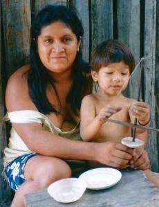 Luke Plowden with Tembé woman in Brazil in 1997. © Photo by Campbell Plowden