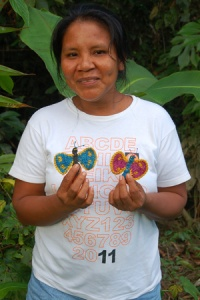 Bora native artisan Amalia Arirama from Brillo Nuevo with hair barrette. Photo by Campbell Plowden/Center for Amazon Community Ecology