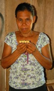 Bora native artisan Ortensia Arirama from Brillo Nuevo with hair barrette. Photo by Campbell Plowden/Center for Amazon Community Ecology