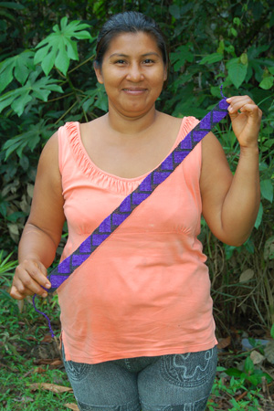 Bora native artisan Segundina Silva with hat band model HB15A. Photo by Campbell Plowden/Center for Amazon Community Ecology